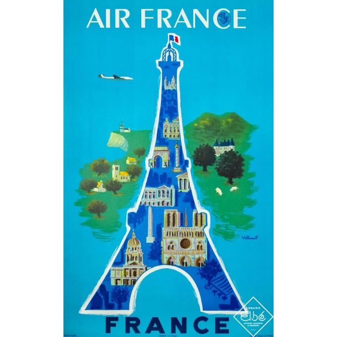 Affiche ancienne de voyage - Villemot - 1952 - Air France Paris - 100 par 60 cm