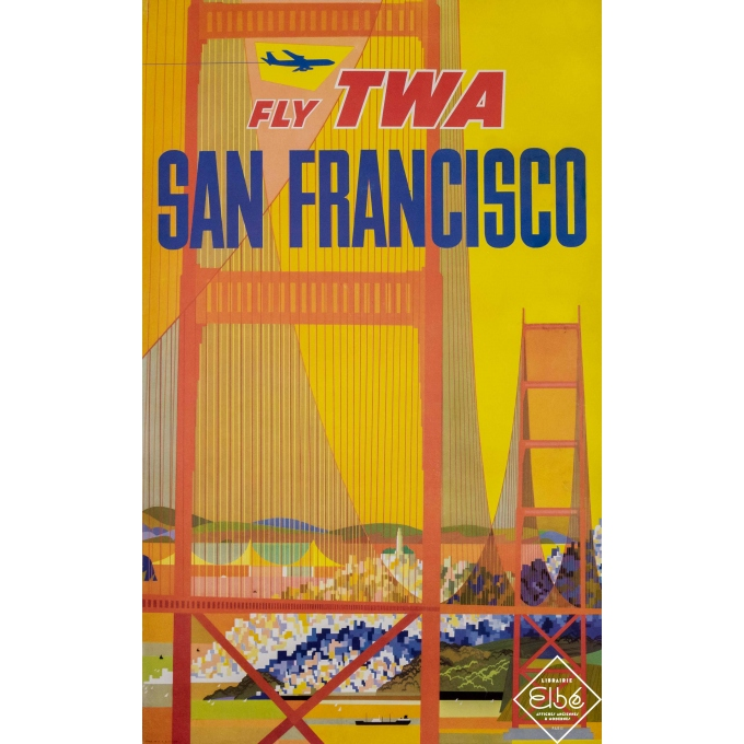 Vintage travel poster - David Klein - Circa 1960 - Fly TWA - San Fransisco - 39,8 by 25 inches