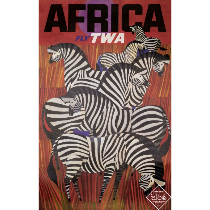 Vintage travel poster - David Klein - 1967 - Africa TWA - Afrique - 39,8 by 25 inches
