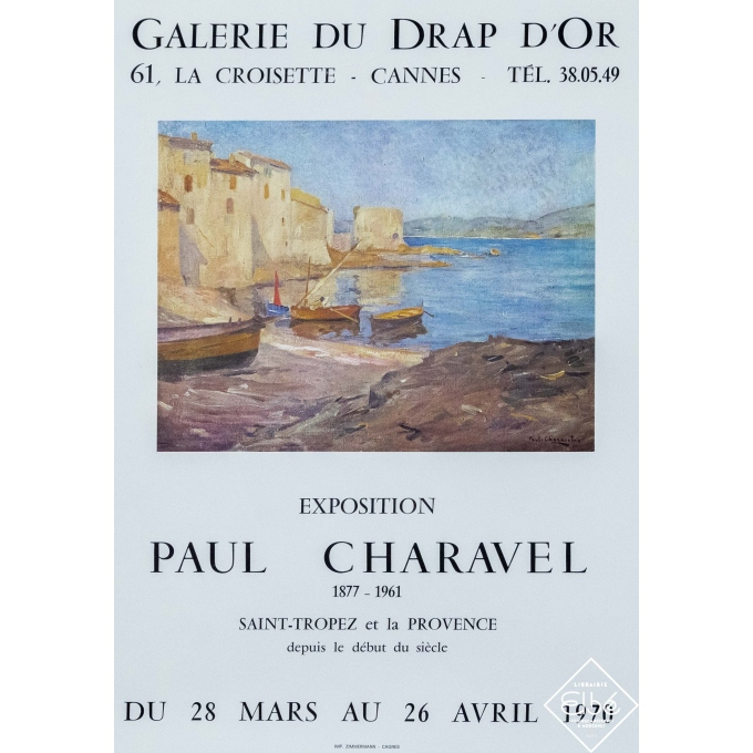 Vintage exhibition poster - Paul Charavel - 1970 - Paul Charavel - galerie du drap d'or - 25,4 by 17,7 inches