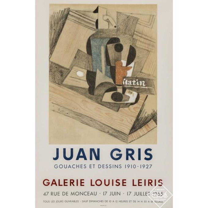Affiche ancienne d'exposition - Juan Gris  - 1965 - Juan Gris - Galerie Louise Leiris - 69 par 46,5 cm