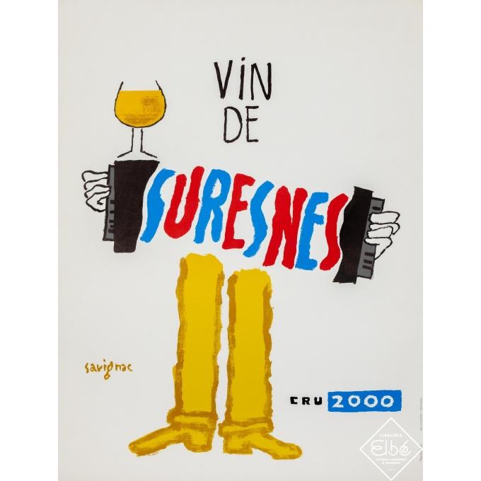 Affiche ancienne de publicité de Savignac, 2000, Vin de Suresnes - Cru 2000. Entoilée, condition B+, dimensions 62,5 par 47 cm