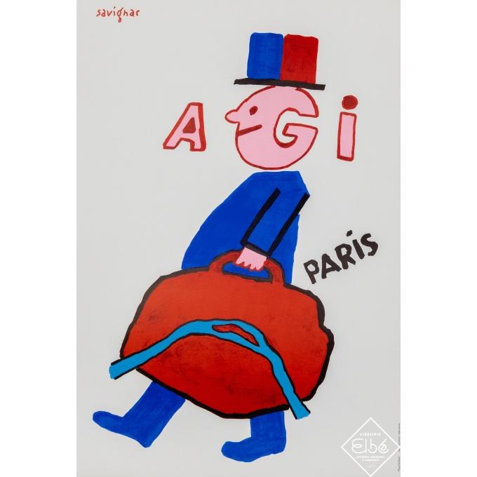 Affiche ancienne de publicité - Savignac - Circa 1990 - Agi - Paris  - 60 par 40,5 cm