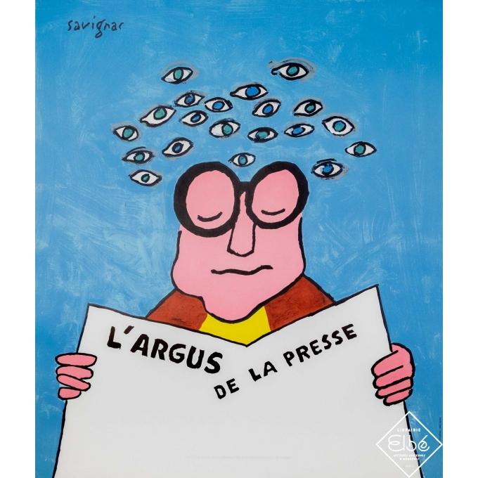 Affiche ancienne de publicité - Savignac - Circa 2000 - L'argus de la presse  - 58,5 par 49,5 cm