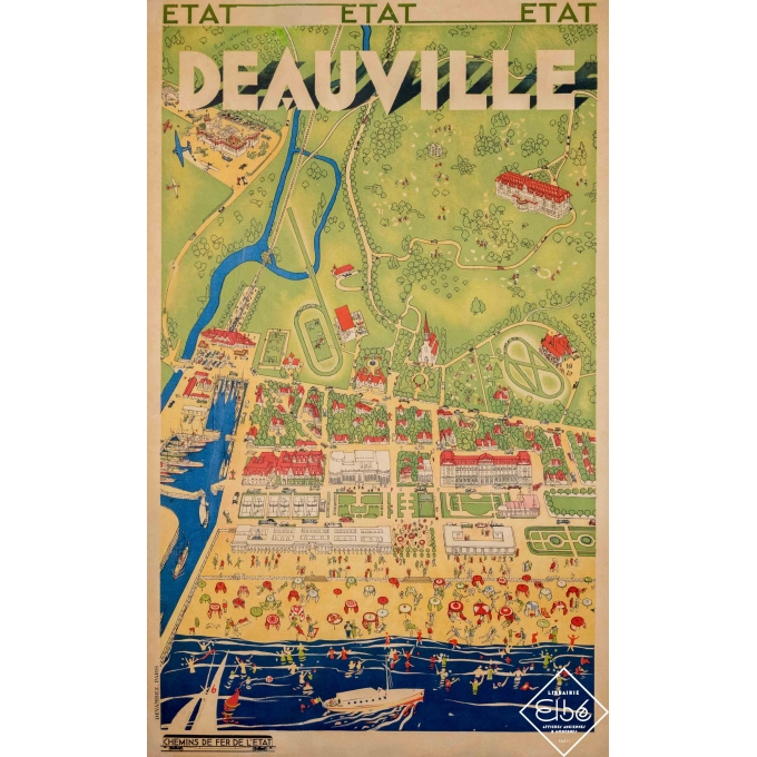 Vintage travel poster - Roger de Valério - Deauville - 39 by 24,2 inches