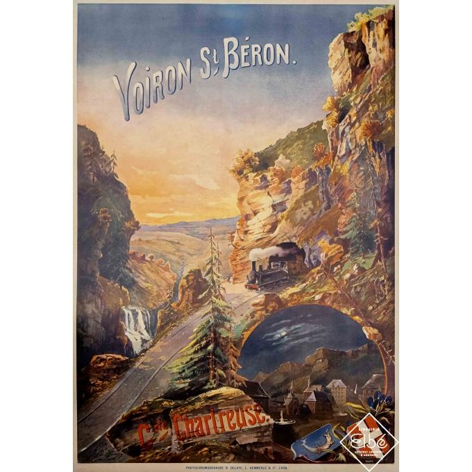 Vintage travel poster - Louis Guerry - 1899 - Voiron Saint Béron - Grande Chartreuse - 42,1 by 28,7 inches