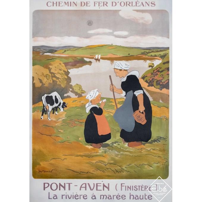 Vintage travel poster - Georges Meunier - 1914 - Pont-Aven la rivière à marée haute  - 40,6 by 28,9 inches