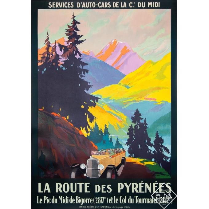 Affiche ancienne de voyage - Commarmond - 1930 - La Route des Pyrénées - 105 par 73,5 cm