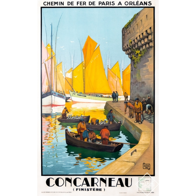 Vintage travel poster - Charles Hallo - 1933 - Concarneau - Finistère - 39,4 by 24,8 inches