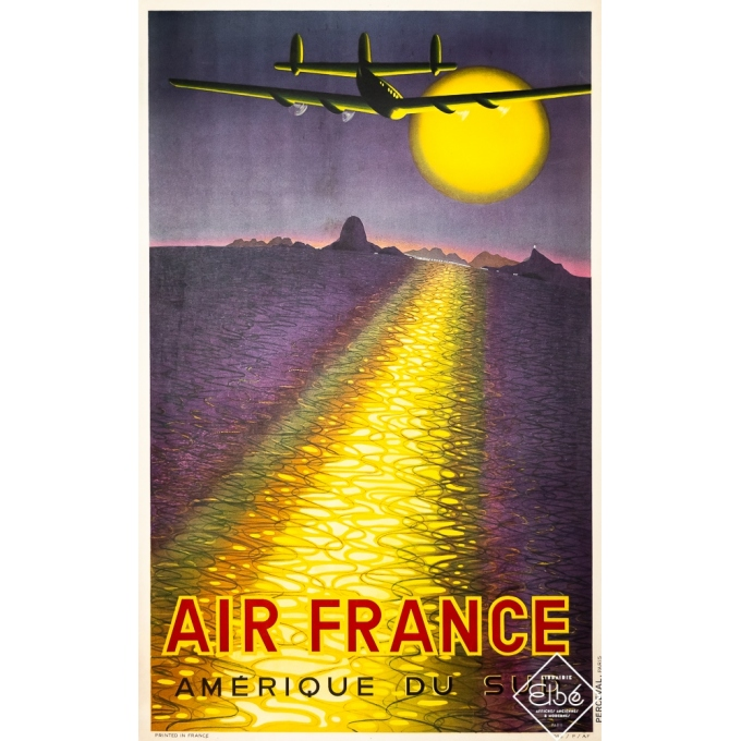 Vintage travel poster - Victor Vasarely - 1946 - Air France - Amérique du Sud - 39,4 by 24,6 inches