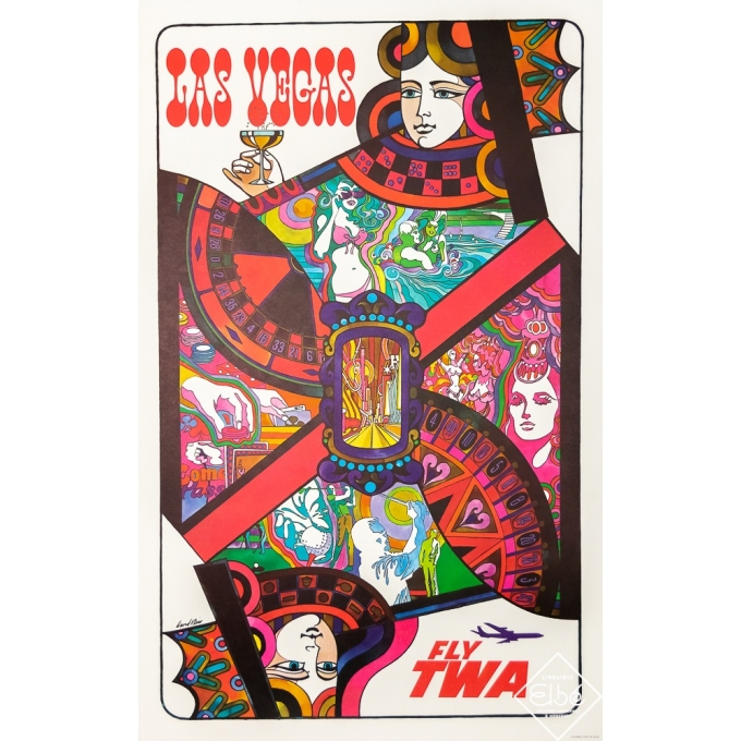Vintage travel poster - Klein - 1960 - Fly TWA - Las Vegas - 40 by 25,2 inches