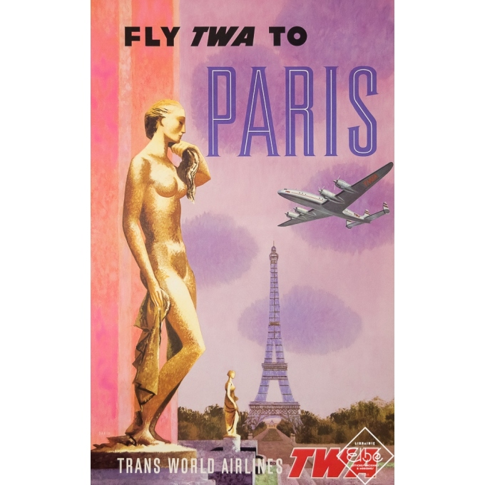 Vintage travel poster - David - 1960 - Fly TWA - Paris - 40 by 25,2 inches