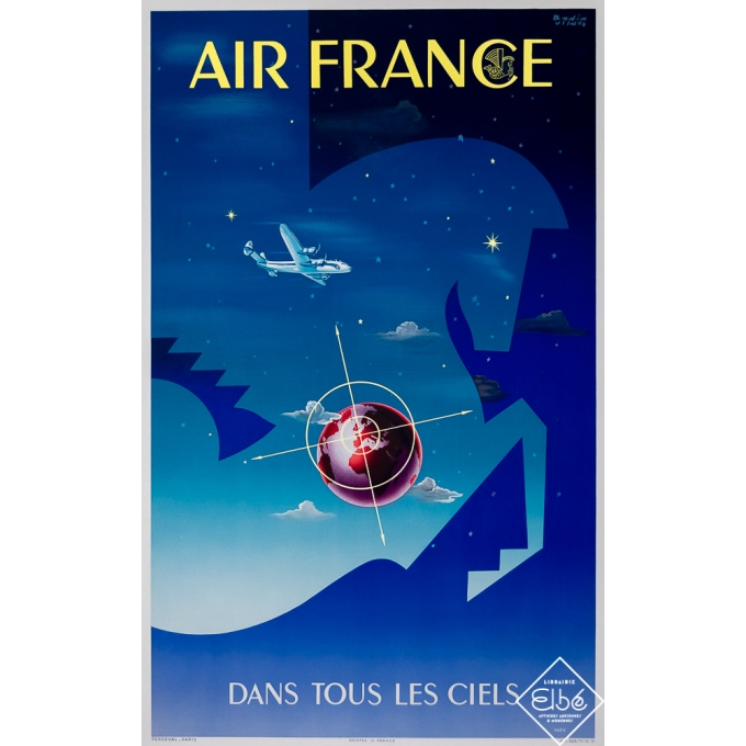 Vintage travel poster - Badia - 1948 - Air France Dans Tous Les Ciels - 39,4 by 24,6 inches