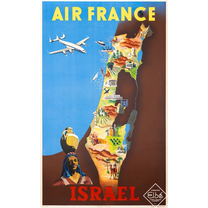 Vintage travel poster - Renluc - 1951 - Air France Israel - 39,4 by 23,6 inches