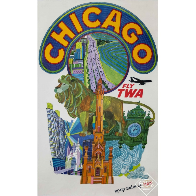 Vintage travel poster - David Klein - Circa 1960 - Fly TWA - Chicago - 40,2 by 25 inches