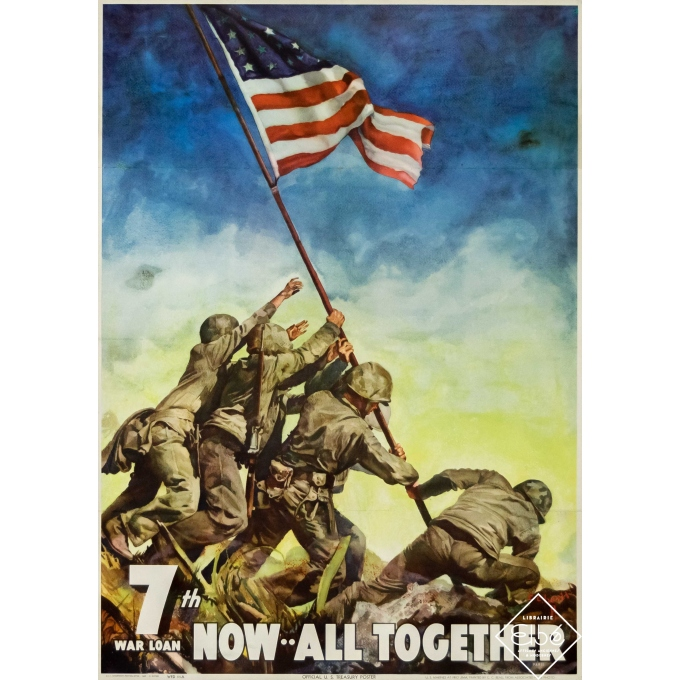 Vintage poster - Painted by C.C. Beall - 1945 - 7th War Loan - US Marines at Iwo Jima - 26,4 by 18,1 inches