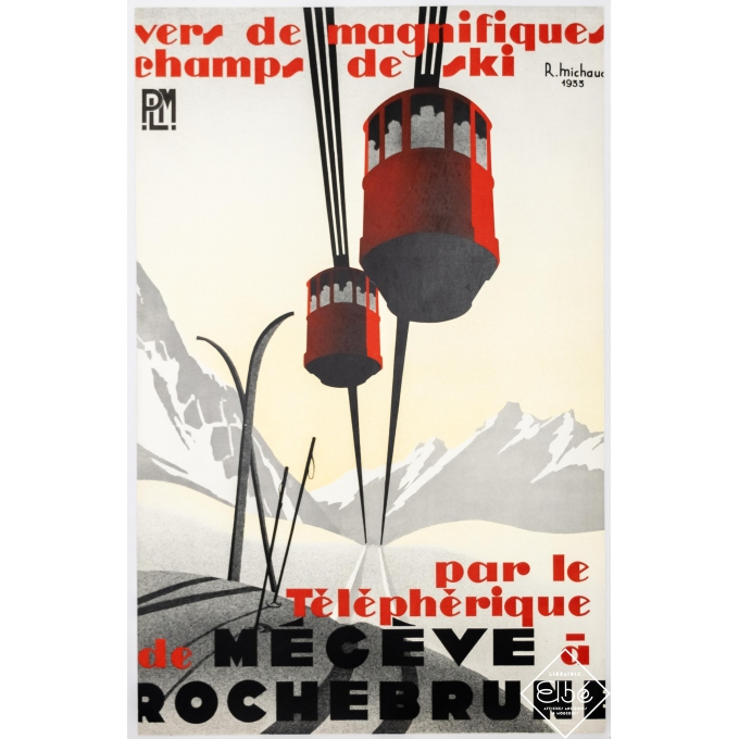 Affiche ancienne de voyage - R. Michaud - 1933 - Mégève à Rochebrune - 98 par 63 cm