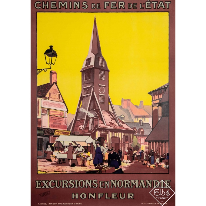 Vintage travel poster - Roger Soubie - 1927 - Honfleur - Normandie - 41,1 by 29,1 inches