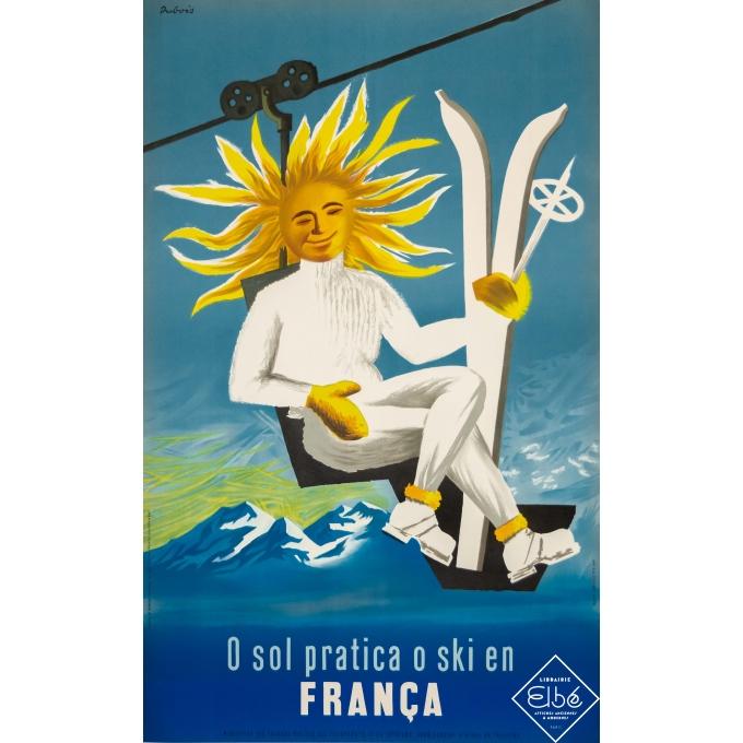 Affiche ancienne de voyage - Dubois - Circa 1950 - Ski en France - 101 par 62 cm