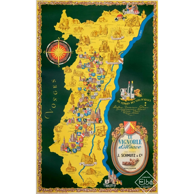 Vintage advertising poster - Willy Fisher - Circa 1950 - Le Vignoble d'Alsace - Vins d'Alsace - 39,6 by 25,2 inches