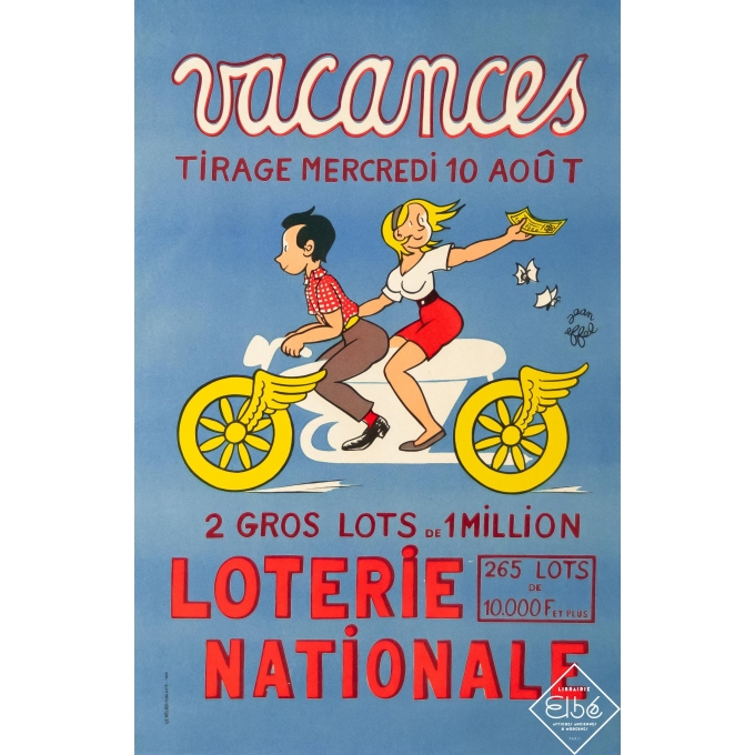 Vintage advertising poster - Jean Effel - 1966 - Vacances - Loterie Nationale - 23,6 by 15,4 inches