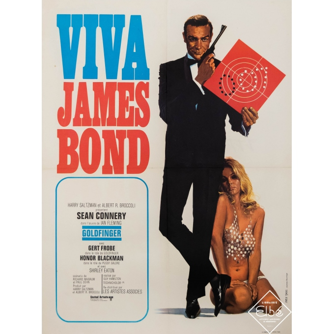 Original vintage movie poster - Yves Thos - Circa 1960 - Viva james Bond Sean Connery - 31,5 by 22,8 inches