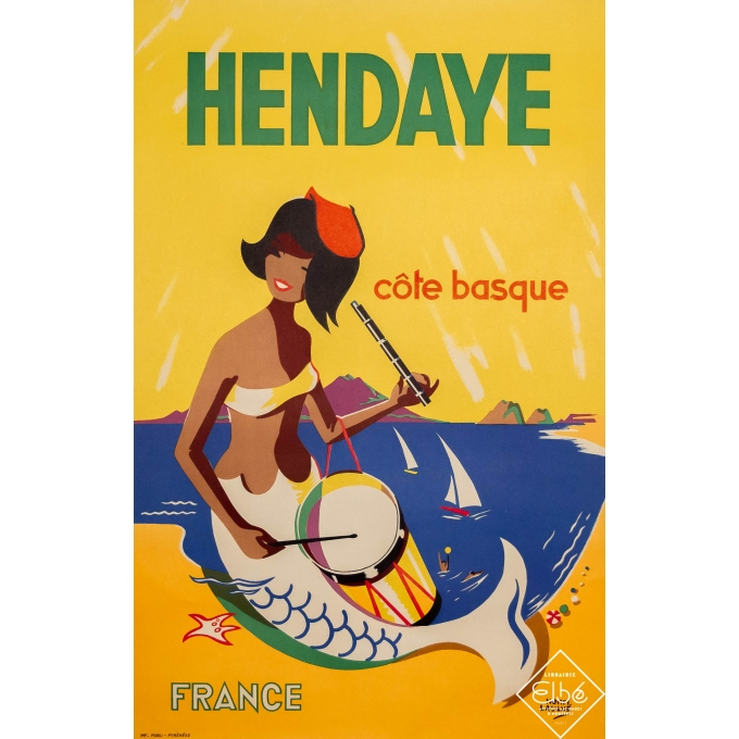 Vintage travel poster - Henri Laulhè - Circa 1955 - Hendaye - Côte Basque - 39,4 by 25,4 inches