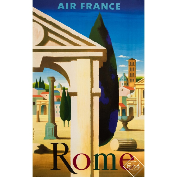 Vintage travel poster - Nathan - 1957 - Air France Rome - 39 by 24,8 inches