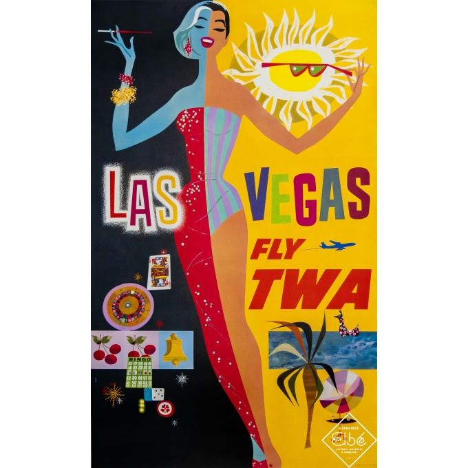 Vintage travel poster - D. Klein - Circa 1960 - Las Vegas - Fly TWA - 40,4 by 24,8 inches