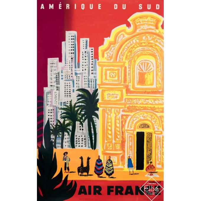 Vintage travel poster - Villemot - 1958 - Air France Amérique du sud - 39,4 by 23,6 inches