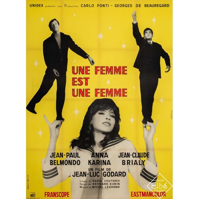 Original vintage movie poster - Chica - 1961 - Une femme est une femme - Jean-Paul Belmondo - 63 by 47,2 inches