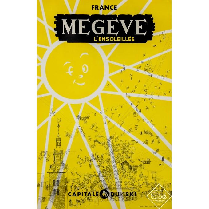 Vintage travel poster - Publicité YL Annecy - Circa 1960 - Megève l'ensoleillée - Capitale du ski - 25,2 by 39,4 inches