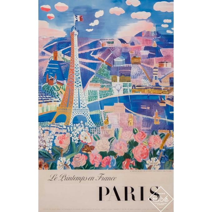 Vintage travel poster - 1950 - Le printemps en France -Paris- Le paravent de Raoul Dufy - 39 by 24,8 inches