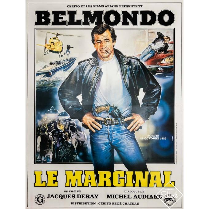 Original vintage movie poster - Casaro - 1983 - Le Marginal - Belmondo - 63 by 47,2 inches