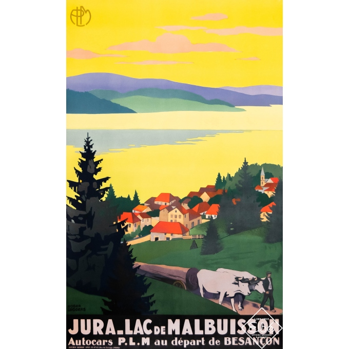 Vintage travel poster - Roger Broders - Circa 1930 - Jura - Lac de Malbuisson - 39,4 by 24,8 inches