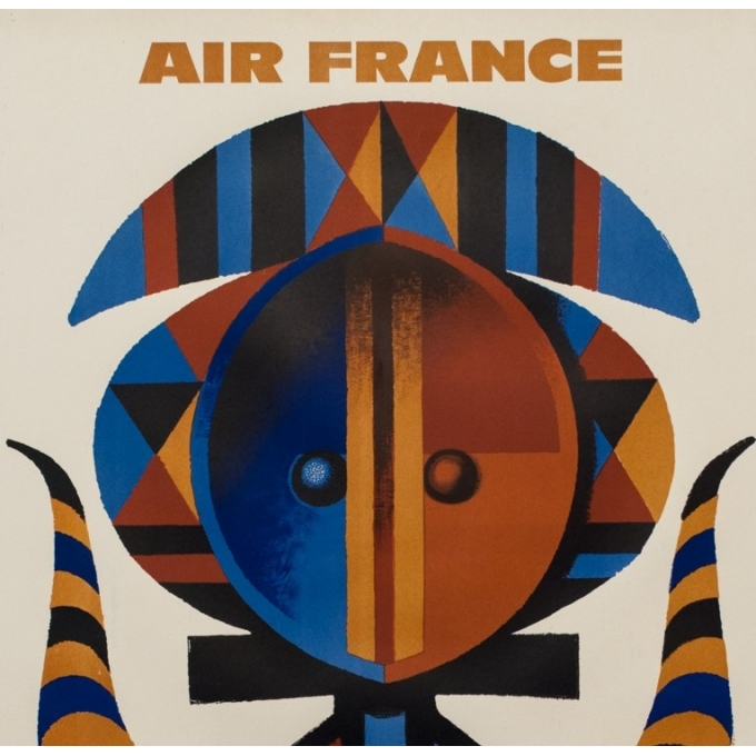 Vintage travel poster - Nathan - 1962 - Air France Afrique - 39 by 24.2 inches - 2