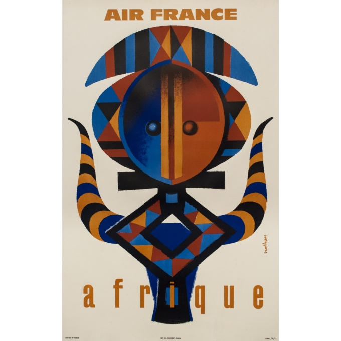 Vintage travel poster - Nathan - 1962 - Air France Afrique - 39 by 24.2 inches