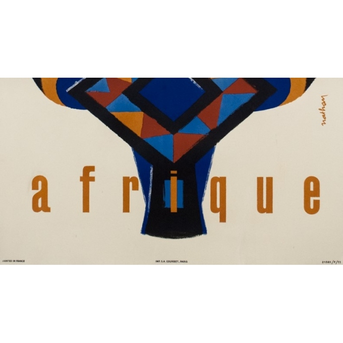 Vintage travel poster - Nathan - 1962 - Air France Afrique - 39 by 24.2 inches - 3