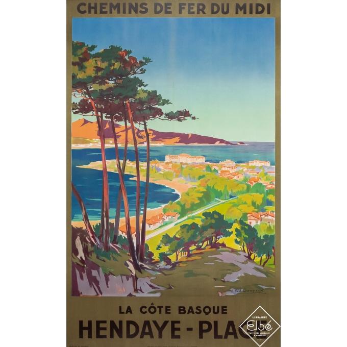 Vintage travel poster - Emile Paul Champseix - Circa 1925 - Hendaye Plage- La Côte Basque - 39 by 24,8 inches