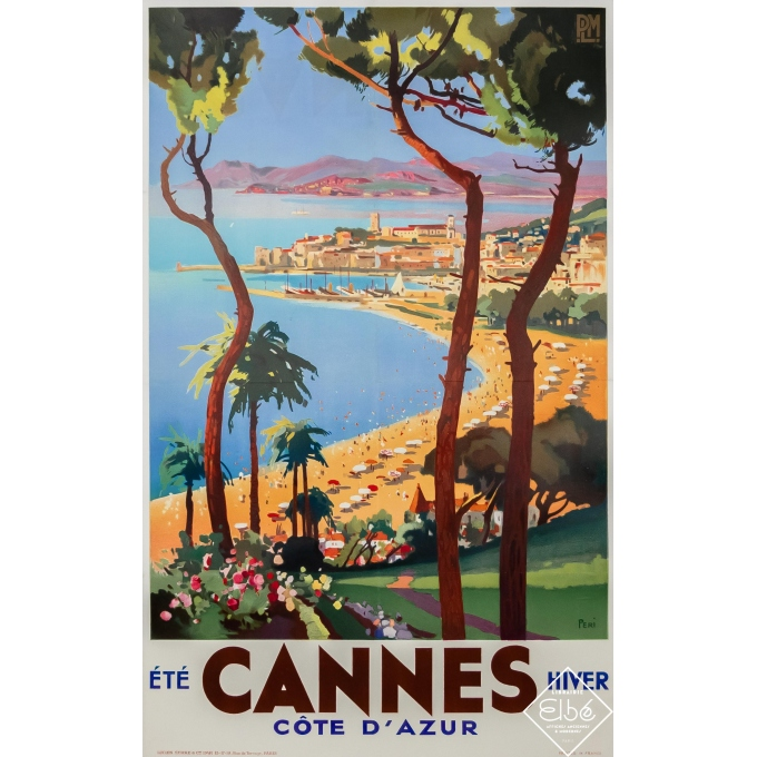 Vintage travel poster - Lucien Peri - Circa 1930 - Cannes - Côte d'Azur - 39,2 by 24,6 inches