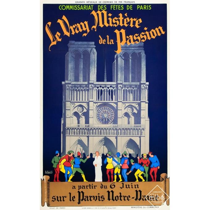 Vintage poster - Emile Regnault - 1925 - Le Vrai Mystère de la Passion - Notre Dame de Paris - 39,4 by 24,4 inches