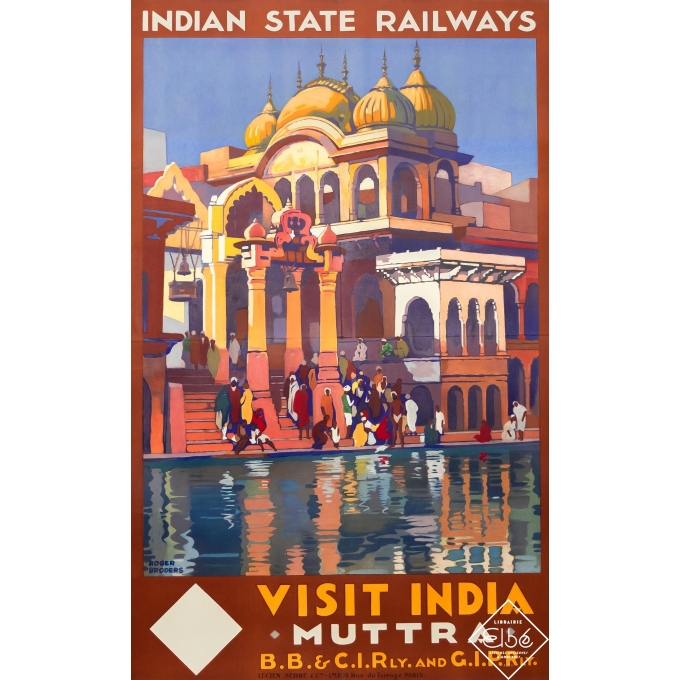 Vintage travel poster - Roger Broders - 1928 - Visit India - Muttra - 39,4 by 25 inches