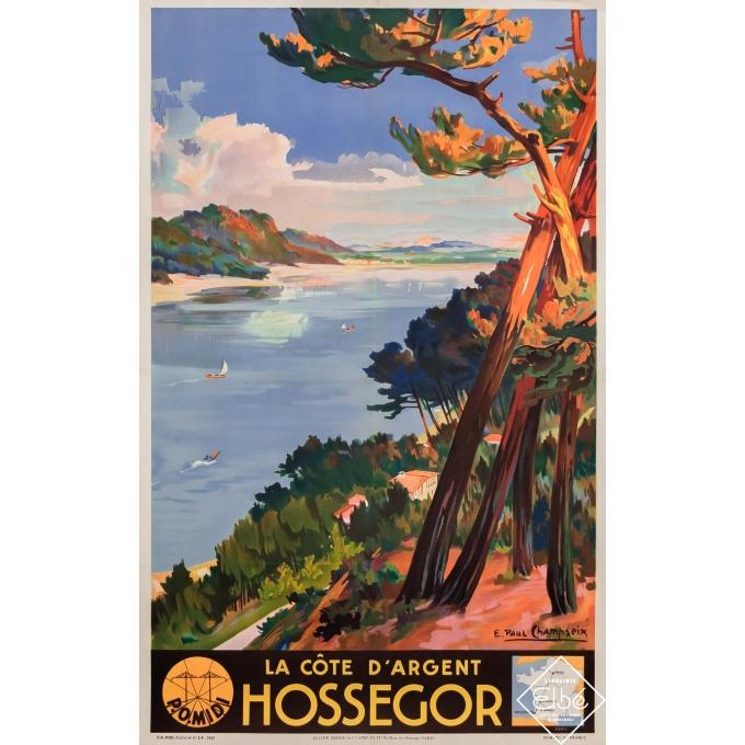 Vintage travel poster - Emile Paul Champseix - 1937 - Hossegor - La côte d'argent - 39,4 by 24,8 inches