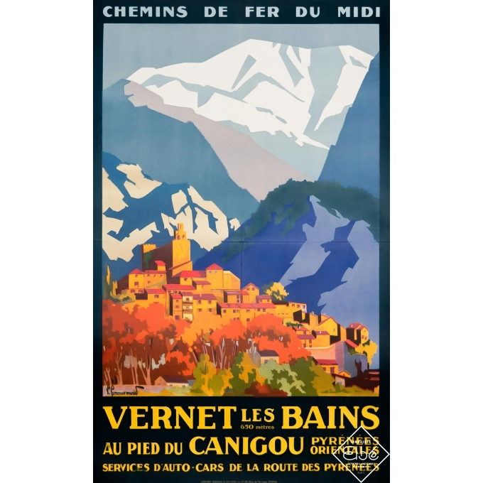 Vintage travel poster - Pierre Commarmond - Circa 1925 - Vernet Les Bains - 39,4 by 24,6 inches