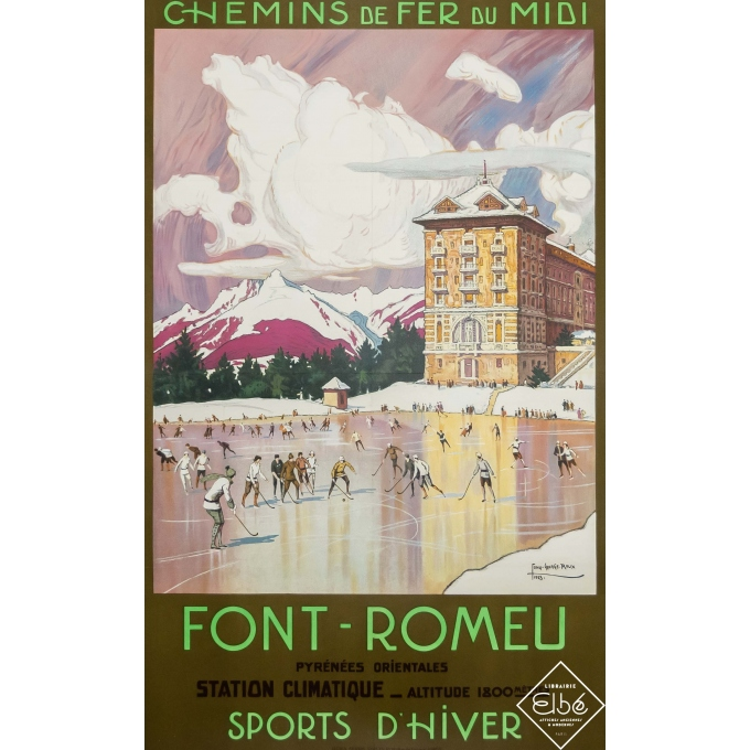 Vintage travel poster - Tony George Roux - 1923 - Font-Romeu - Sports d'hiver - 39,4 by 24,6 inches