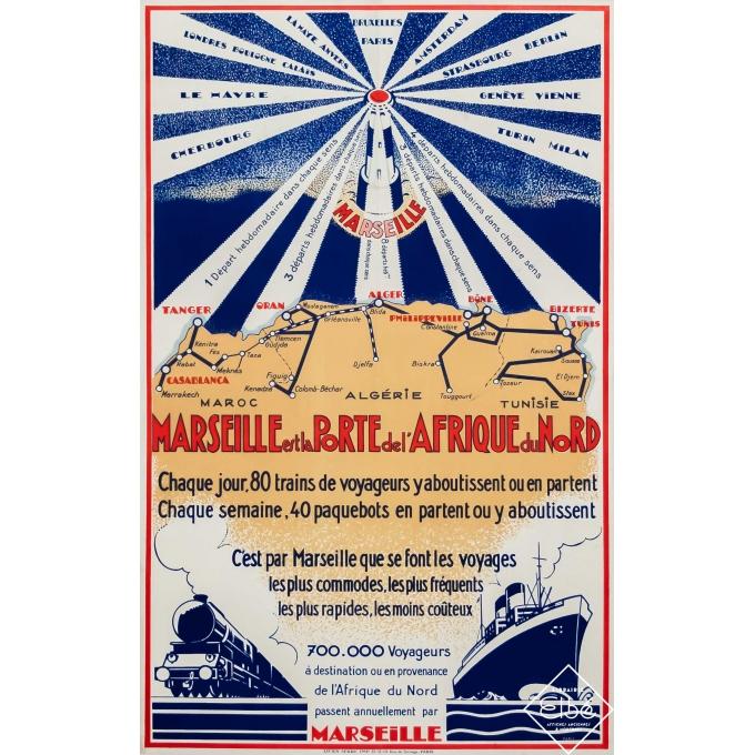 Vintage travel poster - Circa 1925 - Marseille est la Porte de l'Afrique du Nord - 39,4 by 24,8 inches