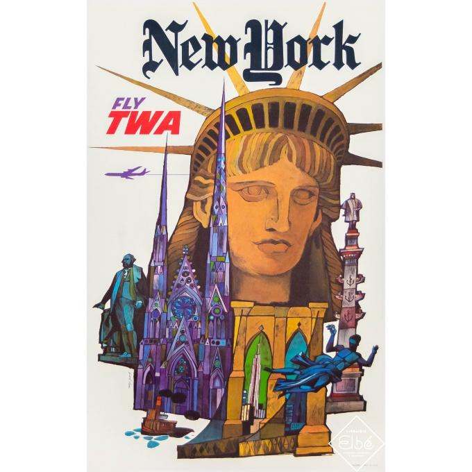 Vintage travel poster - David Klein - Circa 1960 - New York TWA - 25 by 15,8 inches