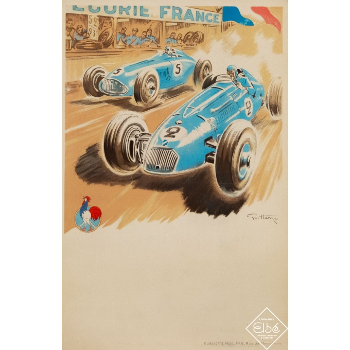 Vintage advertising poster - Geo Ham - 1947 - Ecurie France - Course Automobile - 23,4 by 15,8 inches