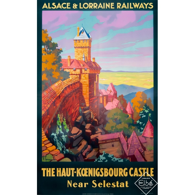 Vintage travel poster - Pierre Commarmond - Circa 1930 - The Haut Koenigsbourg Castle - Alsace - 39 by 24,8 inches