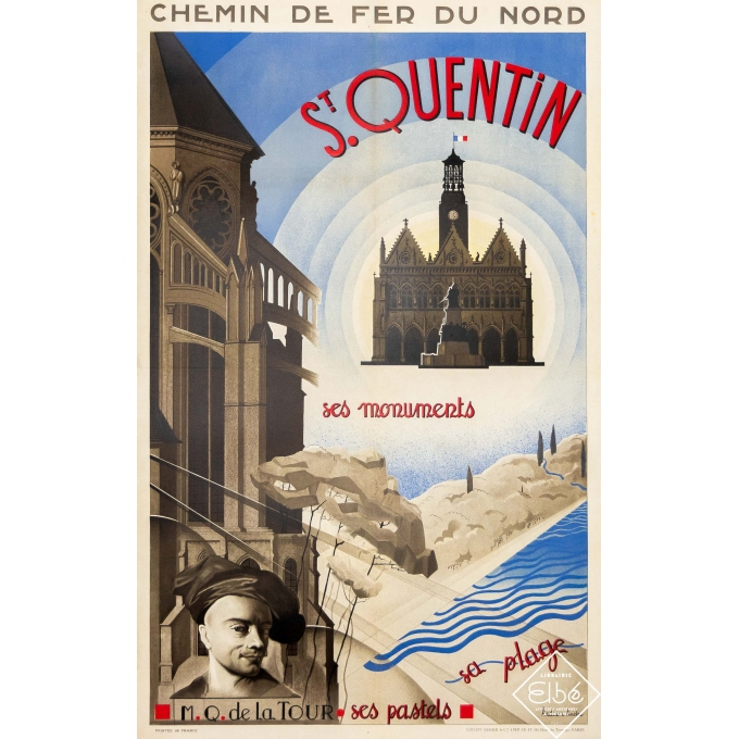 Vintage travel poster - André Arduin - Circa 1930 - Saint Quentin - Chemin de fer du Nord - 39,4 by 25 inches